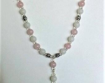 Handmade rose quartz drop pendant necklace