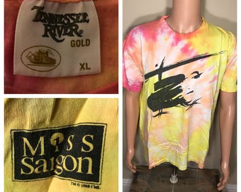 Vintage 1980s Miss Saigon movie shirt // broadway musical // tie dye shirt // original authentic // Tennessee river vtg tee // 1988 dated
