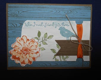 Thank you handcrafted card, original, inside blank