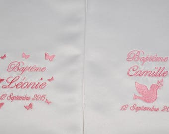 For twins: 2 scarves/shawls christening baby/child Butterfly/Dove custom embroidered silver boy or girl