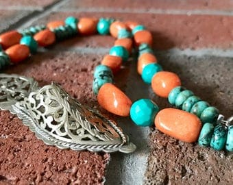 Moroccan silver Babouche Slipper Pendant with Genuine Turquoise and Orange quartzite beaded handmade Ethnic necklace.
