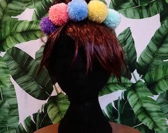Pompom headband handmade, pastel rainbow, festival pride