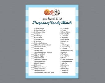 Football Pregnancy Candy Match Game Printable, How Sweet it is, Sports, Baby Shower Games, Soccer, Basketball, Candy Matching Game, B011