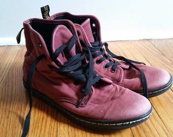 vintage ankle boots, russet canvas doc martens shoe mens 8 womens 10