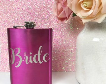Bridesmaid Flask, Personalized Flask. Pink Flask, Bridesmaid Gift, Engraved Flask, personalized bridesmaid flask
