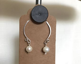 INTERCHANGABLE EARRINGS - Fresh Water Pearl - Hand Hammered Post Sterling Frame