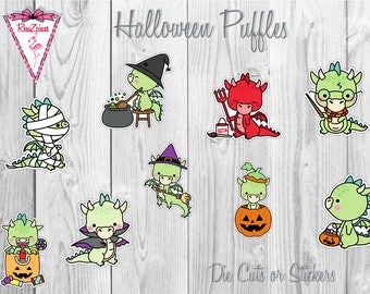 Puffles Dragon Die Cuts or Stickers - Halloween