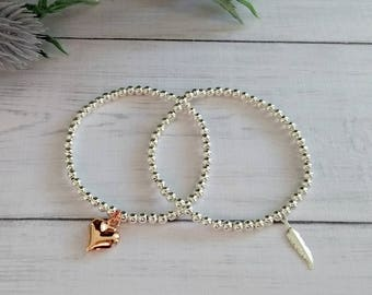 Rose Gold Heart, Silver Feather, Bracelet Set, Silver Bracelets, Stretch Bracelets, Beaded Bracelets, Bracelets for Women