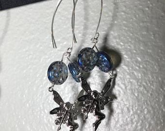Iridescent blue Czech bead fairy ear wires
