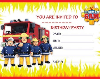 Fireman Sam A6 Children's Birthday Party Invitations