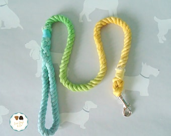 Blue/Green/Yellow Ombre Dog Lead / Rope Dog Leash / 4ft Rope Dog Lead / 12mm / Rope Lead / Rope Leash / Pet Supplies