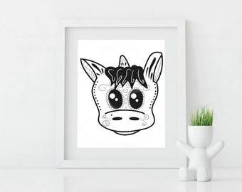 unicorn sugar skull • digital file • printable • jpg • tattoo • wall art • poster • decoration •  Día de los Muertos • day of the dead •