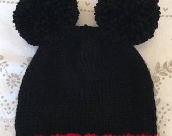 Hand knitted micky mouse hat for new born