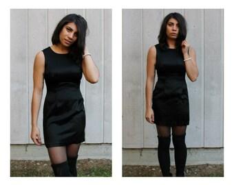 Vintage 90s Black Satin Dress  Classic Little Black Dress LBD