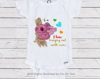 hanging out with mom onesie, mommy's girl outfit, mommy and me outfit, cool baby clothes, trendy baby bodysuit, funny baby clothes