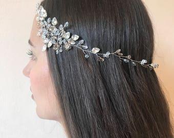 Bridal headpiece, bridal hair accessories, non tarnish wire, wedding tiara, wedding wreath & tiara, crystal tiara, bridal hair halo