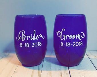 Bride & Groom Wine Glasses