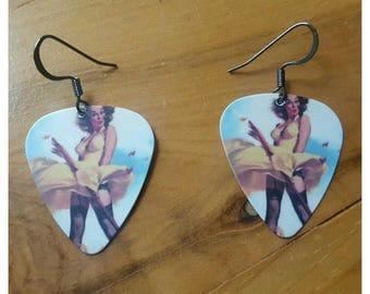 Pin-up Girl guitar pick earrings