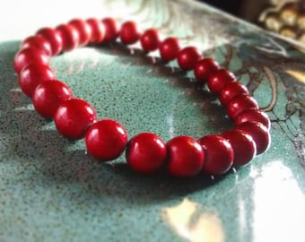 Red Wooden Beads Neon Stretchy Bracelet