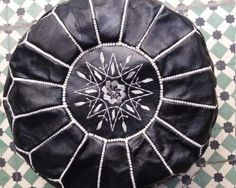 Genuine  moroccain leather pouf, moroccan leather pouf, leather pouf, ottoman, poufs, black pouf, leather ottomans, leather footstool