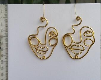 Handmade line portrait, gold face art earrings