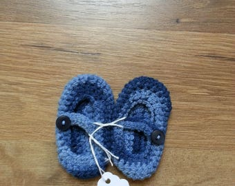 Crocheted newborn Mary Jane baby booties