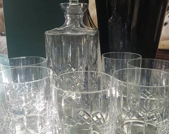 Set of 1x Crystal Decanter and 6x Whisky glasses - Clear Cut