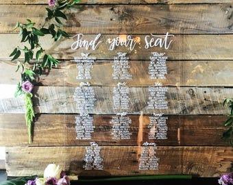 Custom acrylic seating chart, wedding seating chart, acrylic sign, seating chart, acrylic, modern wedding signs, wedding signs, bridal sign