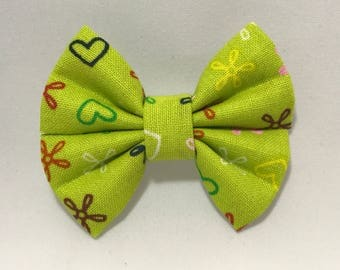 Hearts & Flowers - Fabric Barrette Bow