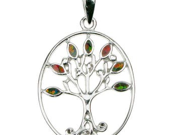 Fire Opal Tree Of Life Pendant