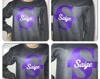 ON SALE Custom monogram glam sweatshirt | Personalized sweatshirt | crew neck glitter sweatshirt
