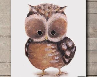 Animal Nursery Art / owl wall art / baby shower gift / nursery decor / animal art print set / handmade art /original painting