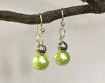 Earrings. Lime Green Glass Beads. Silver Beads. Loop Ear Wires. WH.er100