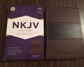 PERSONALIZED ** NKJV Giant Print Reference Bible - Chocolate Leathertouch ** Custom Imprinted