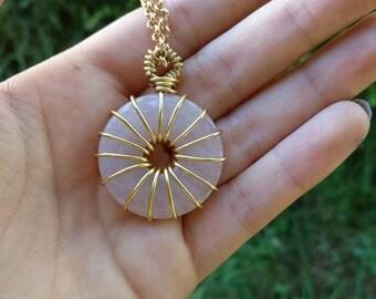 Rose Quartz Crystal Birthstone Necklace, Pendant