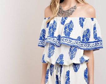 White and blue off-shoulder romper|marrakech rompers|  off-shoulder| blue| playsuit| July 4th | jumpsuits& rompers|white romper