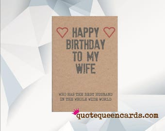 Funny Wife Birthday Card, Funny birthday card, Funny card, Happy Birthday Wife, Who Has The Best Husband In The Whole World