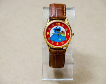 Super Rare Vintage Sesame Street General Store Cookie Monster Watch