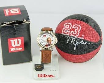 Vintage Wilson Michael Jordan Chicago Bulls Brown Leather Band Watch