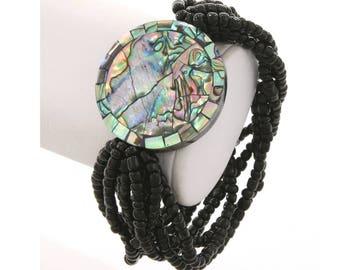 Abalone Bracelet, Beaded Bracelet, Abalone Round Pendant Bracelet