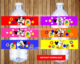 Mickey Mouse bottle labels, Printable Mickey Mouse water bottle labels, Mickey Mouse party water labels Instant download