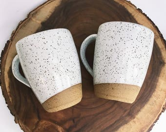 PAIR OF White With Speckles Large Coffee /Tea Mug