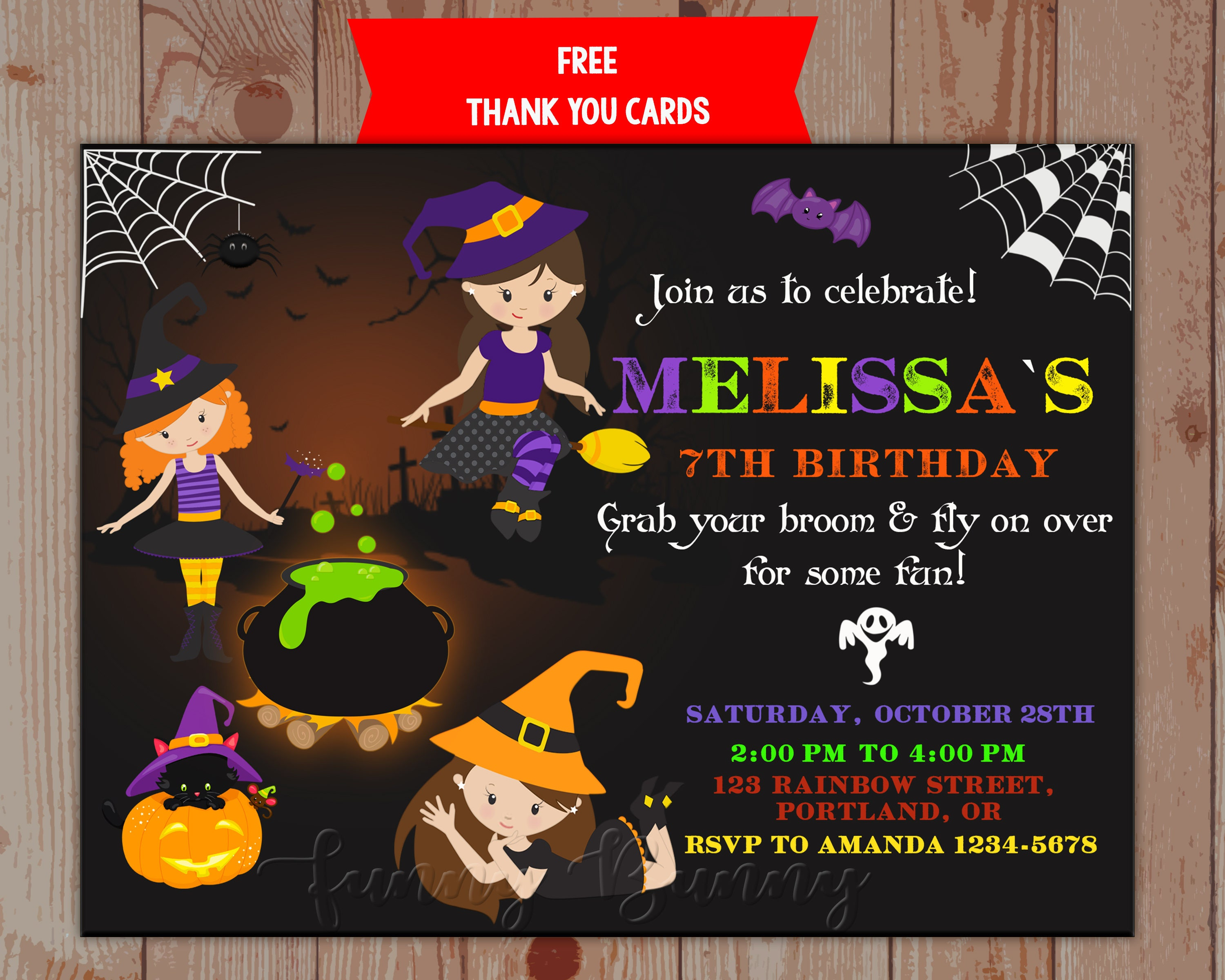 Happy sabbath cards topsimages witch birthday invitation witch sabbath happy halloween invitation trick or treat costume party thank you tags m4hsunfo