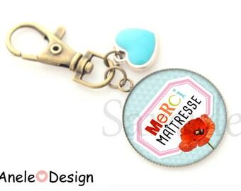 Key ring bag gift thank you teacher - poppy blue heart charm Red