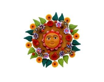 "Mexican Sun ""Sol de la Vida 3"" - Mexican Sun made of Clay, Clay work, Pottery"