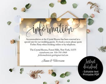 Wedding Guest Information Details, Gold Hearts, Wedding Guest Accommodation Information Printable, Wedding Details Card, Wedding Directions