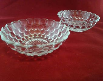 Pressed glass hobnail candy dishes