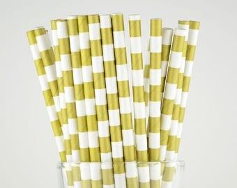 Gold Golden Circle Paper Straws - Mason Jar Straws - Party Decor Supply - Cake Pop Sticks - Party Favor