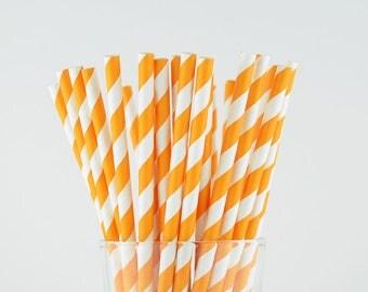 Orange Striped Paper Straws - Mason Jar Straws - Party Decor Supply - Cake Pop Sticks - Party Favor