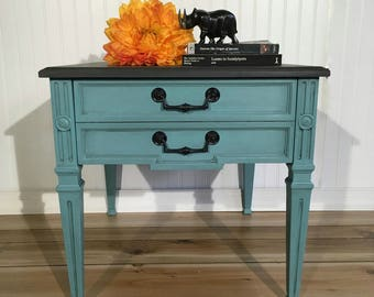 Vintage Painted End Table Or Night Stand. Teal/green Body, Dark Gray Top